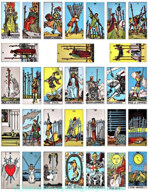 Digital Collage Sheet vintage swords tarot card deck 1x2 inch Printable Download for domino printables fortune telling diy crafts jewelry