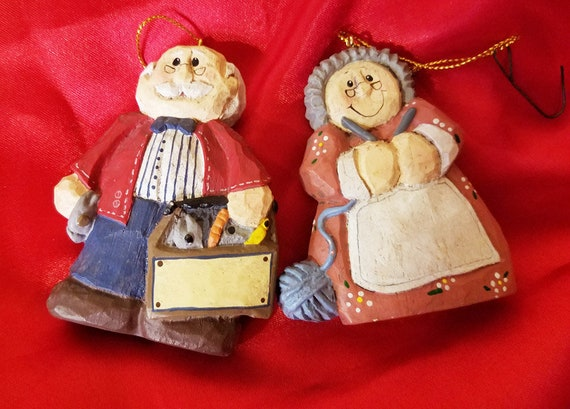 Eddie old lady knitting old man tool box christmas ornaments decoration clay ceramic figurines vintage