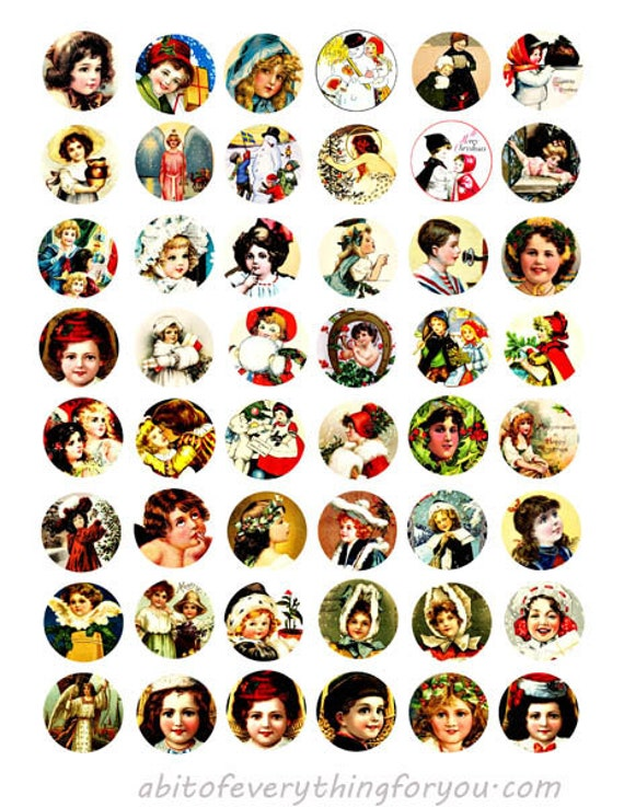 vintage victorian children boys girls collage sheet 1 inch circles clipart digital downloadable printable images bottlecaps pendants diy