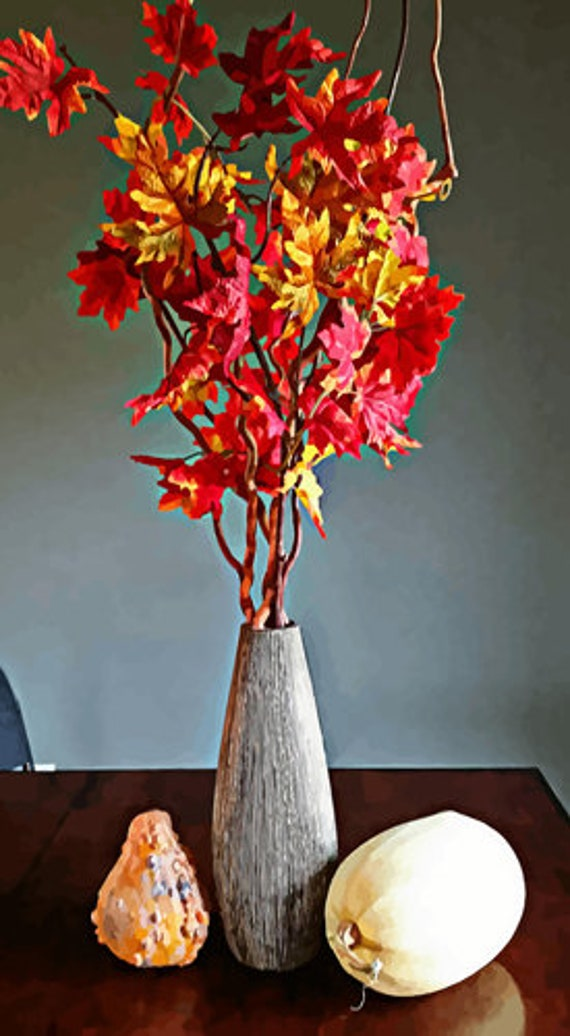 """red leaf tree branch gourds squash abstract still life art printable downloadable digital image photography instant prints 18"""" x 33"""""""
