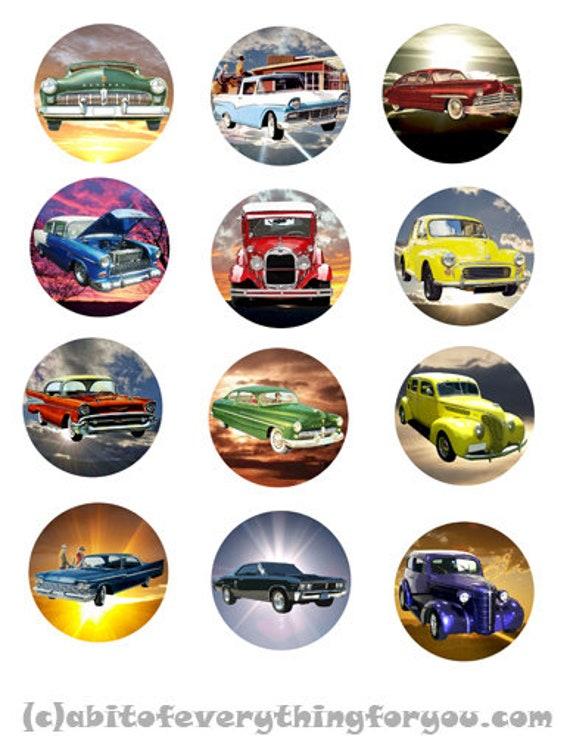 vintage antique cars art collage sheet clipart digital downloadable collage sheet 2 inch circles graphics automobile images printables
