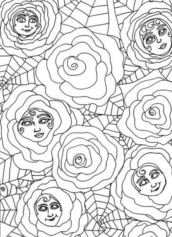 roses with faces coloring page abstract fantasy flower people colouring pages line art printable art coloring pages to print out