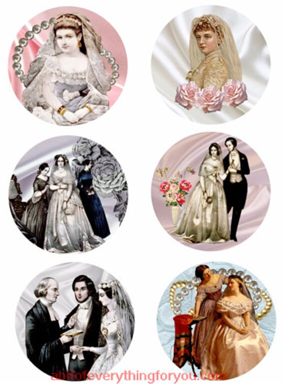 wedding brides marriage woman faces collage sheet 3.5 inch circles clipart digital download images downloadable pendants DIY craft jewelry