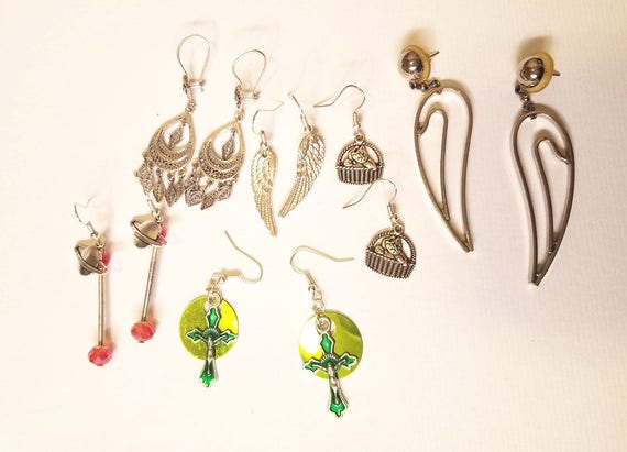 6 pairs mixed earrings lot dangles charm earrings cross saturn cat wholesale charm jewelry lot