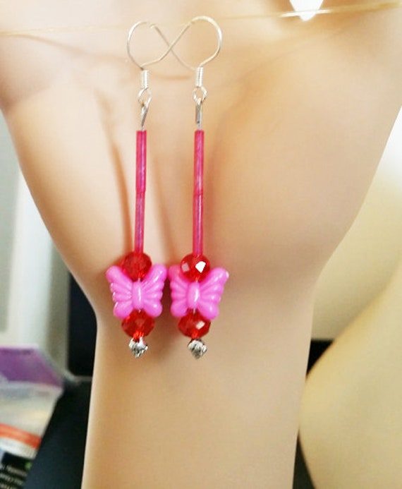 pink and red butterfly earrings bead drop earrings long dangles beaded glass plastic butterflies jewelry handmade