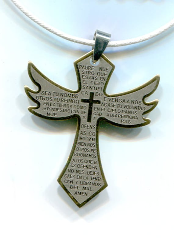 gold stainelss steel big cross necklace metal pendant white cord lords prayer in spanish religious unisex jewelry
