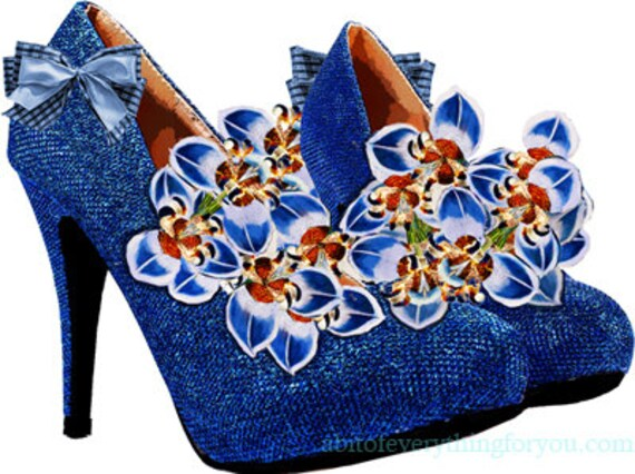 blue orchid flowers high heel shoes printable art print clipart png download digital image graphics original fashion artwork