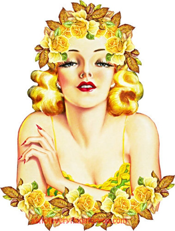 yellow roses flowers blonde pinup girl vintage art printable clipart png download digital image graphics downloadable fantasy artwork
