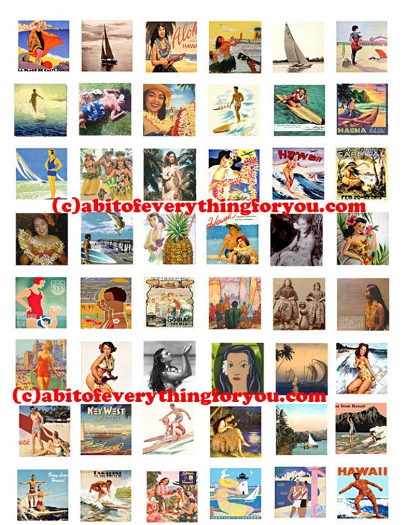 """hawaii hawiian hula girls printable collage sheet women men clipart digital download  1"""" inch squares graphics travel poster images"""
