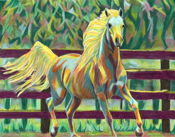 ORIGINAL abstract horse colored pencils drawing farm animals rodeo western colorful by Elizabeth