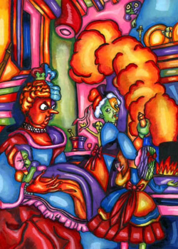 Alice In Wonderland abstract original art abstract paintings acrylics colorful fairytales fantasy artwork
