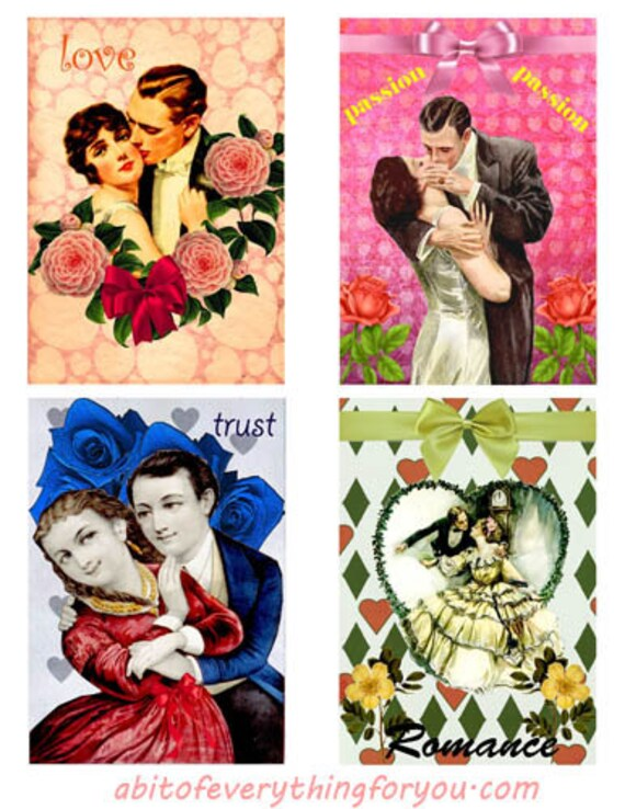 "Vintage marriage couples love art collage sheet digital download 3.5"" x 5"" graphics downloadable images craft printables"