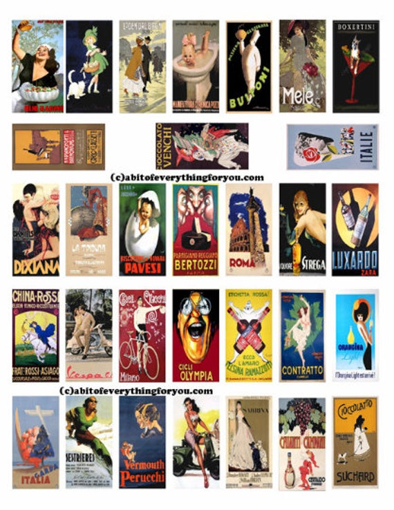 "vintage Italian advertisements clipart art domino collage sheet digital download 1"" x 2"" inch graphics images printable pendants diy jewelry"