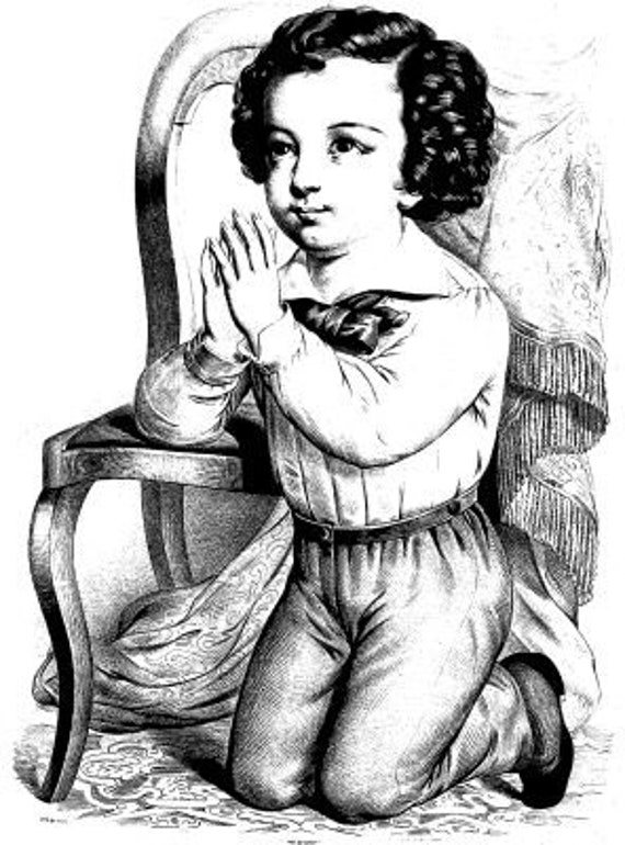 little victorian boy praying printable art print clipart png download digital vintage image graphics digital stamp