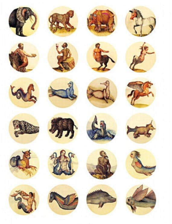 downloadable collage sheets unicorns dragons fantasy beasts 1.5 inch circles clipart digital download printable images fable fairytales