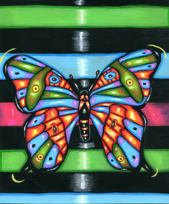 colorful neon BUTTERFLY ORIGINAL art PAINTING acrylics bugs insects stripes modern folk