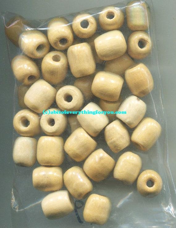 10 barrel beads wooden beads plain macrame bead lot unpainted big 12mm x 16mm Jewelry crafts