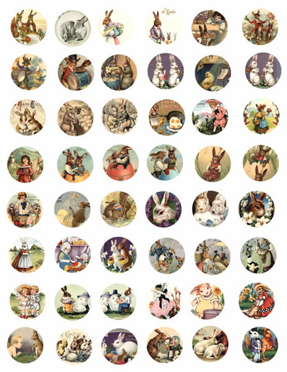 collage sheet easter bunny rabbit baby chicks clip art 1x1 inch circles graphics vintage postcard images digital download craft printables