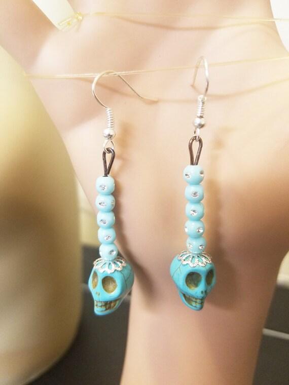 sugar skull earrings Blue skull earrings turquoise bead drop long dangles day of the dead handmade jewelry