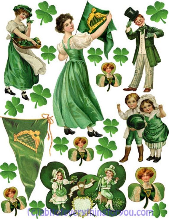 vintage Saint Patricks Day Irish art collage clipart digital download art downloadable st pattys graphic images die cut printables