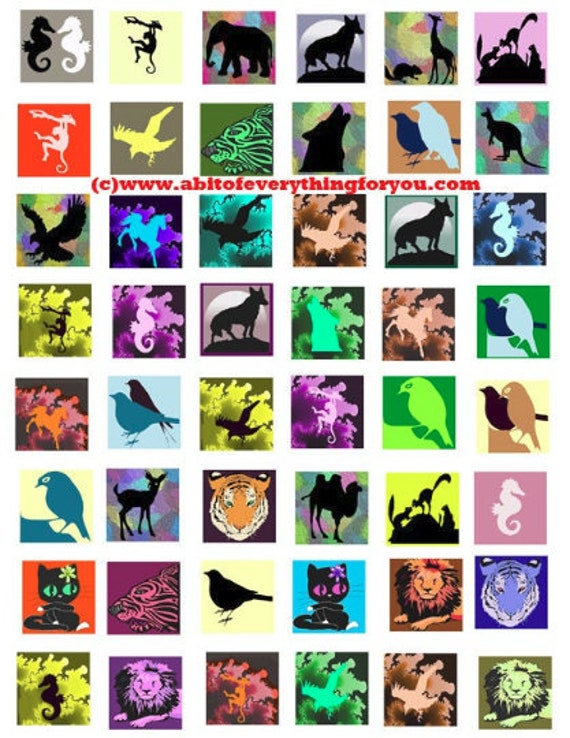 cartoon animals silhouette clip art digital download collage sheet 1 inch squares nature graphics images printables pendants pins magnets