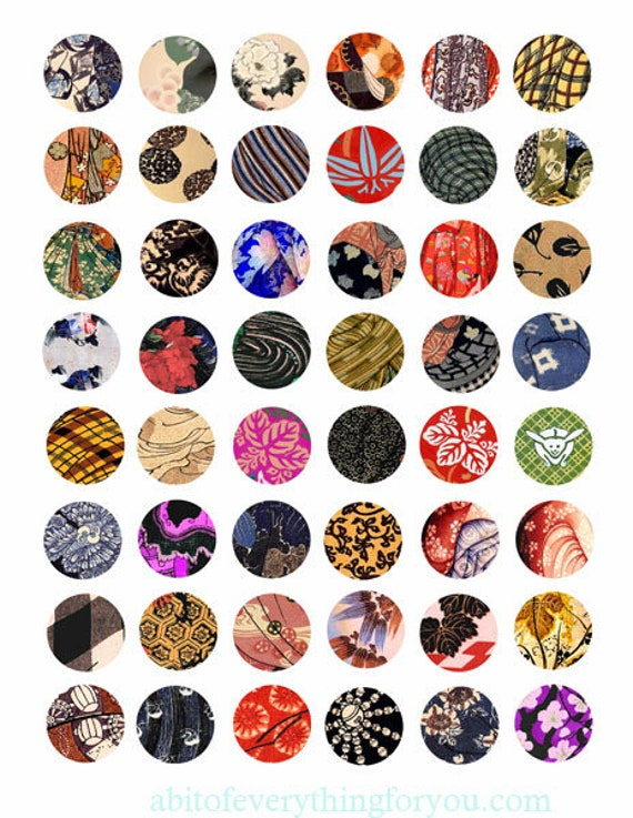 """vintage kimono fabric textile patterns printable collage sheet clipart digital download  1"""" inch circle graphics pendants diy jewelry making"""