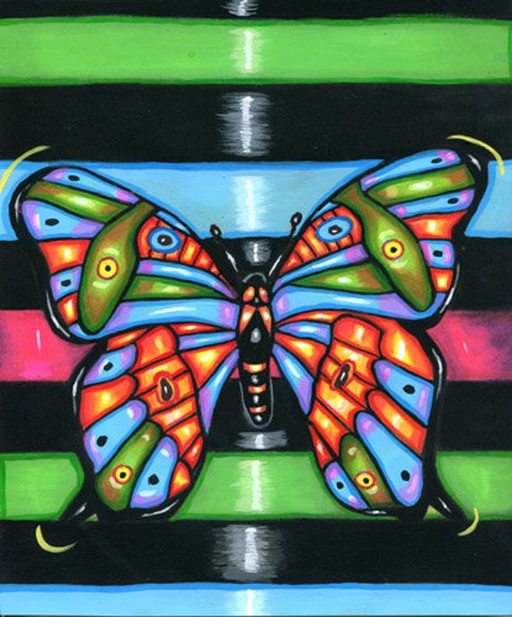 neon BUTTERFLY ORIGINAL art PAINTING acrylics colorful bugs insects kids room nursery nature paintings pop