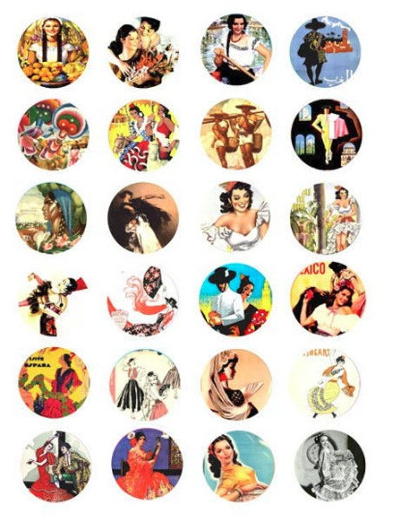 Printable download mexican spanish women 1.5 inch circle images printable collage sheet downloadable images flamenco dancers