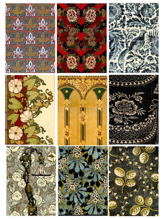 vintage textile fabric floral flower patterns clip art digital download collage sheet 2.5 x 3.5 inch graphics images craft printables cards