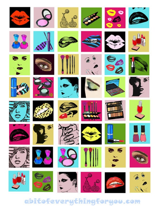 downloadable collage sheets beauty makeup clip art digital download 1 inch squares graphics images printables for pendants pins magnets