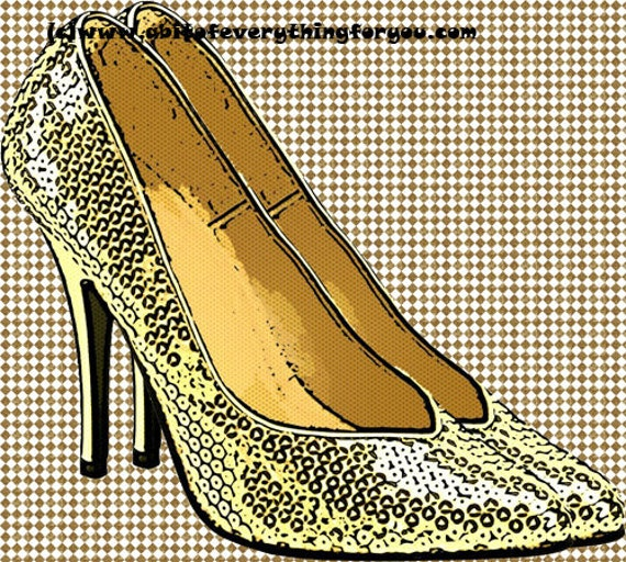 gold sparkle high heel shoes checkers printable art print digital instant download image fashion graphics