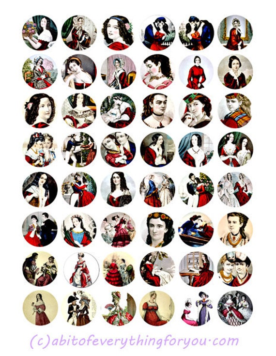 vintage victorian women red dresses downloadable collage sheet 1 inch circles clipart digital download graphics images jewelry pendant