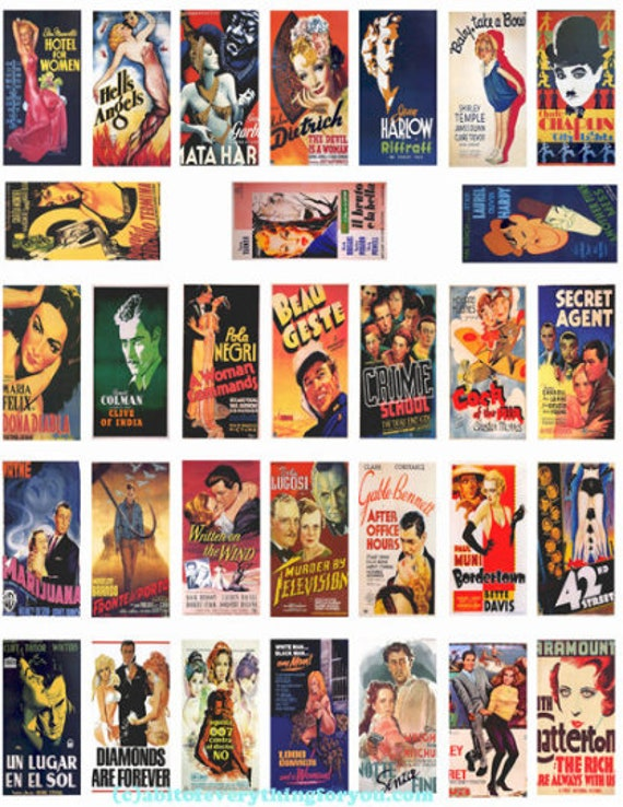 "domino collage sheet  vintage old movie posters domino clipart digital download  1"" x 2"" inch graphics images 1920s 1930s 1940s printables"