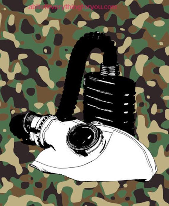 war gas mask camouflage printable art print clipart jpg instant download digital image downloadable graphics home decor living room bedroom