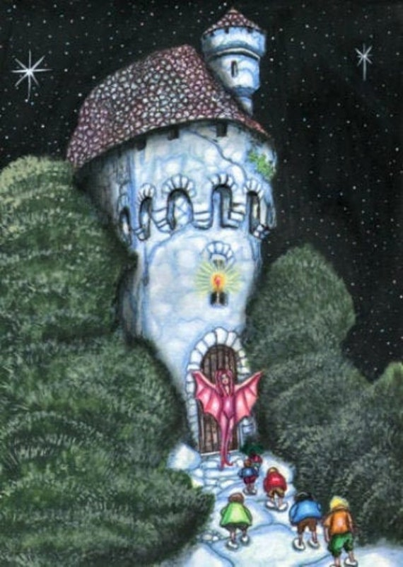 """The Summoning Of The Elf Children"""" witch castle night ORIGINAL art painting fantasy creatures acrylic landscape trees witches fairytales"""