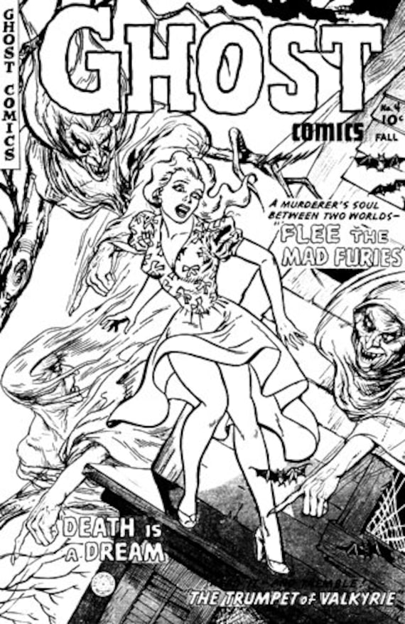 witches ghost horror comics black and white art coloring page printable art download digital horror coloring comic book pages image graphics