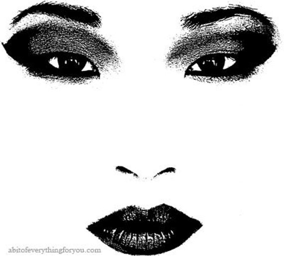 asian chinese woman eyes lips printable art clipart digital download image graphics black and white artwork
