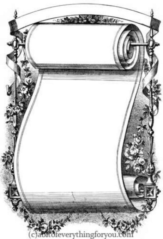 fancy ornamental scroll frame clipart png Digital Downloadable printable art vintage Image graphics flowers borders digital stamp diy craft
