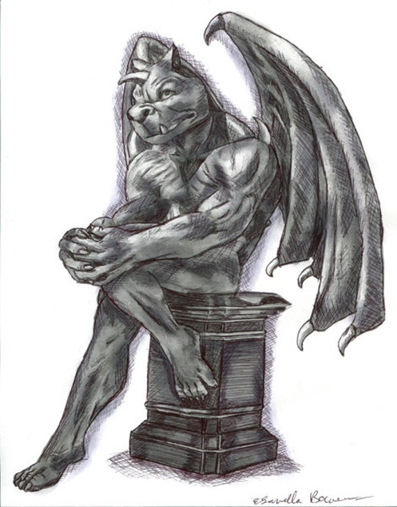 ORIGINAL gargoyle dragon pen ink drawing fantasy beasts fairytale illustration black and white artwork