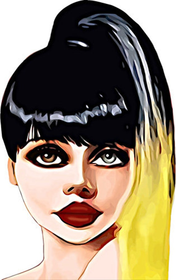 pop star Diva cartoon pinup clipart png brown and blue eye printable art  fashion digital image woman graphics instant downloads die cuts