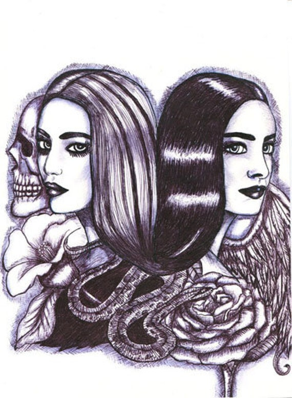 Twin sisters angel skull art print original drawing women black & white tattoo original artwork, goth modern art, contemporary good evil