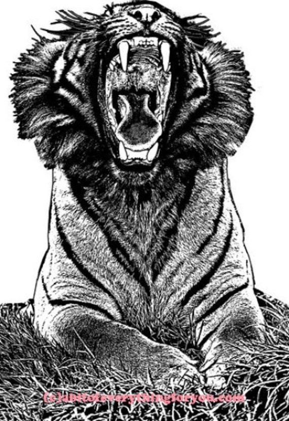roaring Tiger animal art printable digital downloadable jungle safari nature image graphics black and white home living room bedroom wall