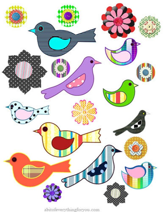birds flowers polka dots stripes patterns die cuts craft cut outs clipart digital download paper graphics images printables