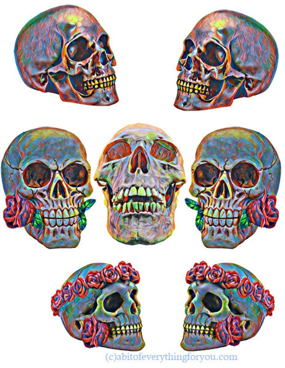 downloadable abstract colorful skulls clipart collage die cuts printable art graphics images digital download craft cut outs