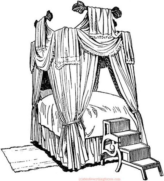 antique canopy bed illustration printable art print clipart png digital download furniture large image graphics digital stamp coloring page