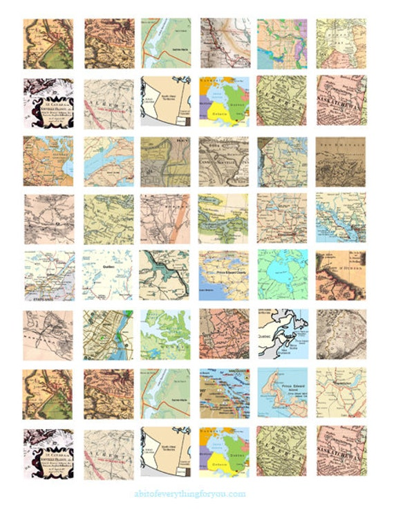 "vintage canada maps clipart digital download collage sheet 1"" inch squares images pendants pins printables"