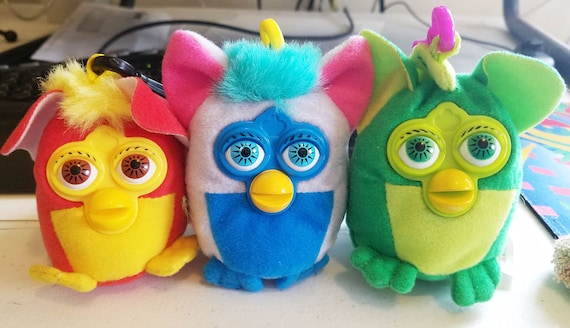 FURBY plush KEYCHAINS Backpack Clip Ons lot of 3 2000 fast food stuffed toys collectibles