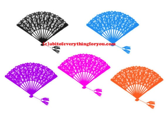 lace fans 5 colors clipart png printable art downloadable fashion art digital image graphics for DIY crafts, cards t shirts pins mugs etc...