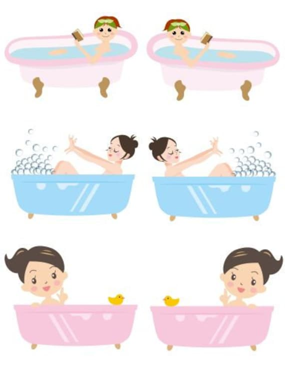cute cartoon pinup girls in bubble bath collage sheet printable clipart digital download bathroom graphics images