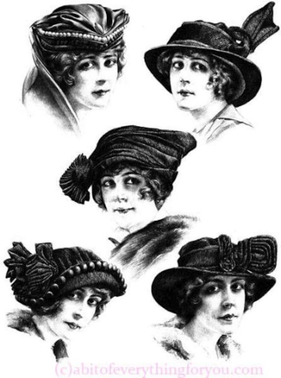 1920s flapper girl hats face vintage fashion illustration printable art clipart png digital downloadable image graphics black and white